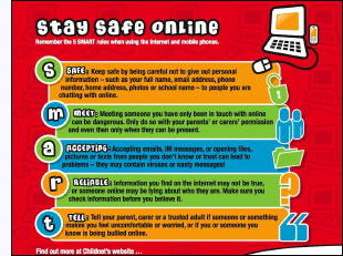 Staying Safe Online poster, mousemat, computers, education
