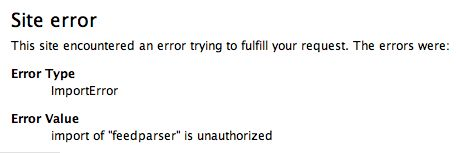 import of feedparser is unauthorized error message